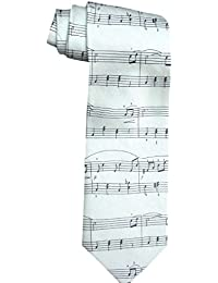 MUSICAL WHITE NOTES SONG ITALYAN QUALITY TIE