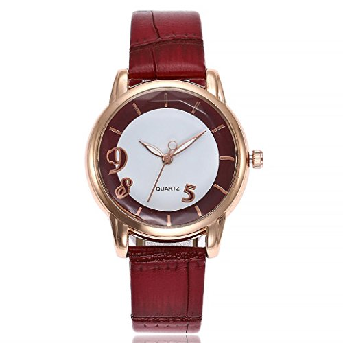 Uhren DELLIN V251 Beiläufige Quarz Lederband Newv Bügel Uhr Analoge Armbanduhr der Frauen (Rot)