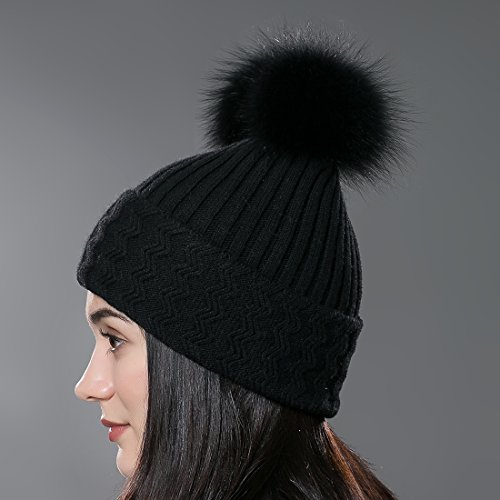 URSFUR Chapeau/Bonnet/Etiquette Chaud D'hiver Rayé Tressé avec Pompon en Laine Noir