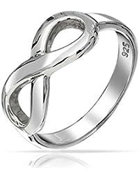 b7c2534435d3 Dulce delicado abrir infinito interminable Figura 8 Símbolo de plata  esterlina 925 Anillo acabado pulido