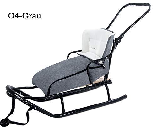GagaDumi Schlitten aus Metall mit Rücklehne, Schubbügel und Fußsack Babyschlitten Rodel Oslo (O4-Grau)