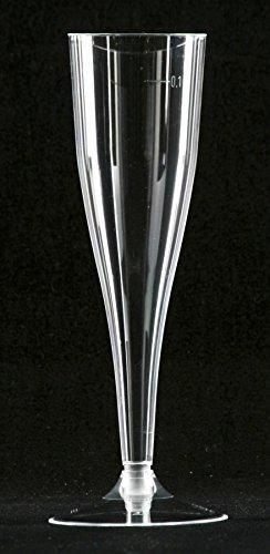 MS Lot de 100 flûtes à champagne jetables Transparent 100 ml Composé de 2 pièces