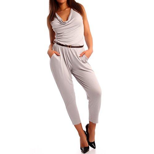 Made Italy - Combinaison - Relaxed - Uni - Sans Manche - Femme Gris - Gris argenté