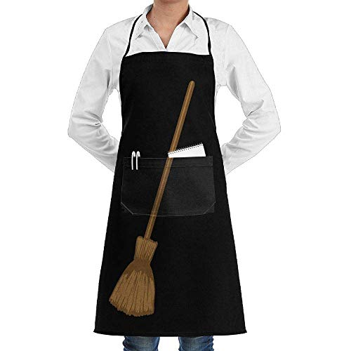 Jxrodekz Men & Women Long Aprons Halloween Witch Broom Food Sleeveless Anti-Fouling Overalls with Pocket