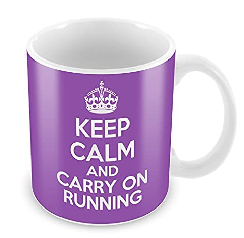 PURPLE KEEP CALM And Carry on Running Mug Coffee Cup