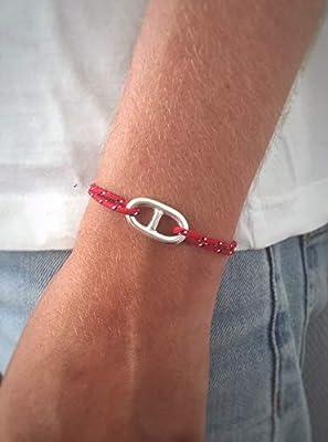 Bracelet maille marine sur Cordon en Argent 925 Bijou nautique Bracelet porte bonheur Bracelet marin