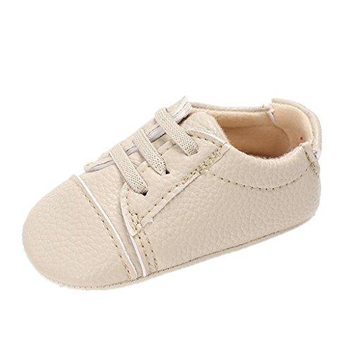 Baby Schuhe Für 0-18 Monate,Auxma Baby Jungen Mädchen PU Leder Schuhe Soft Sohle Prewalker Sneakers (12cm/6-12 M, Beige) (Schuhe Kleidung Bow Wohnungen,)