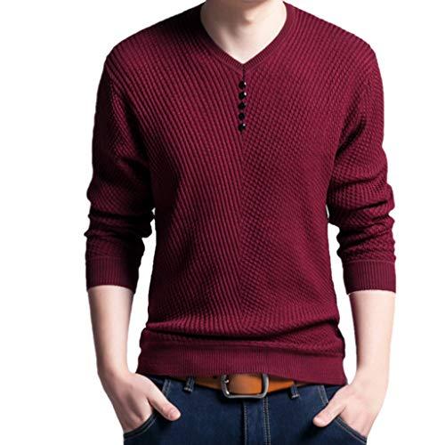 DNOQN Oversize T Shirt Herren Cashmere Pullover Slim Fit Bluse Herren Mode Lässig Gefälschte Taste Streifen Strick Langarm Shirt 56/XXXL/125 -