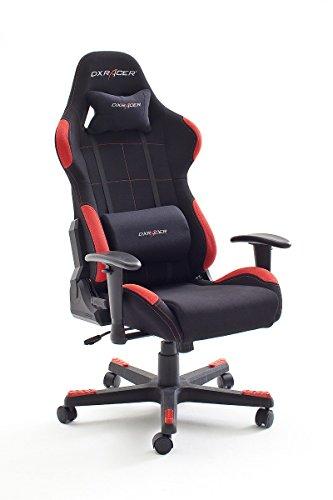 DX Racer1, Bürostuhl, Gaming Stuhl, Schreibtischstuhl, Chefsessel mit Armlehnen, Gaming chair, Gestell Nylon, 78 x 124-134 x 52 cm, Stoffbezug schwarz / rot (62501SR4)