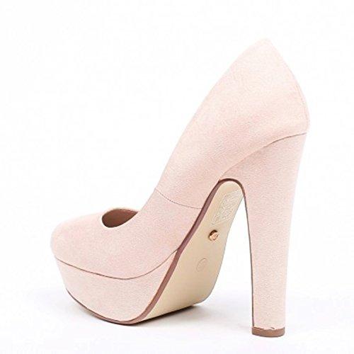 Klassische Damen Pumps Stilettos High Heels Plateau Abend Schuhe Bequem 21 Beige 921