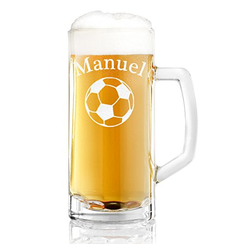 Bierkrug mit Gravur eines Namens – Bierseidel mit Motiv Fussball 0,5l