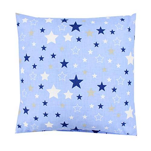 TupTam Funda de Almohada con Diseños para Niños, Estrellas Azul Oscuro Blanco/Azul, 40 x 60 cm