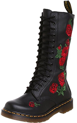 Dr Martens Vonda Black Red 14 eyelets Leather Womens Boots -3