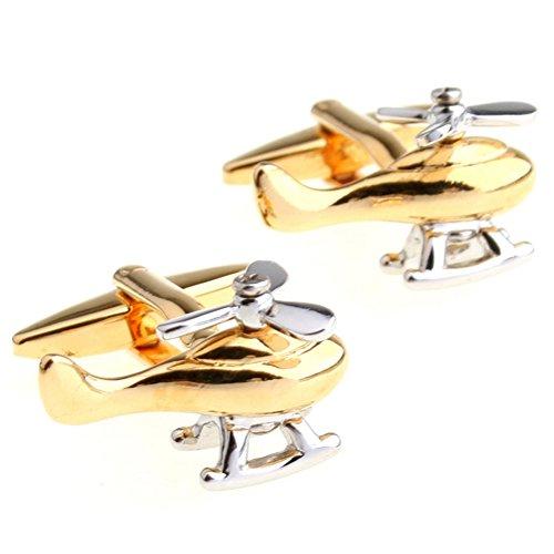 Covink® private elicotteri gemelli pilot rescue raf air ambulance rame e bottoni, con sacchetto regalo, silver and gold, taglia unica