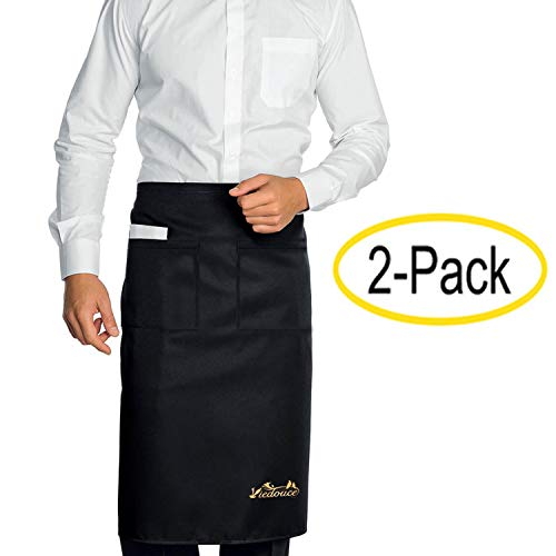 Viedouce 2 Pack Schürze,Wasserdicht Kurze Taille Kochschürze mit 2 Taschen, Küchenschürze,Grillschürze,Küchenschürze für Frauen Männer Restaurant Server Chef Kellnerin Kellner Barista (Schwarz)