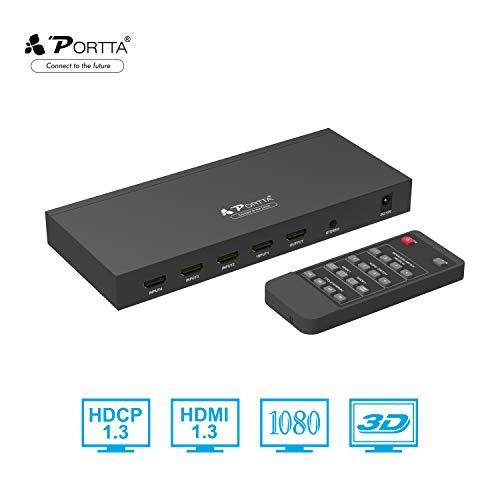 Portta HDMI Switch 4x1 Quad Multi-Viewer mit Nahtloser Seamless Umschalter Unterstützung 720p/1080p Scaler + Stereo Extractor + IR-Steuerung + 5 Verschiedene Anzeigemodi für Xbox360 PS4 Notebook HDTV (Ps3-ir-steuerung)