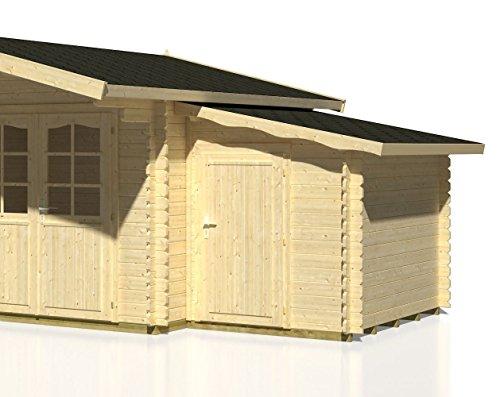 Anbauschuppen Cornus C1 inkl. Fußboden, naturbelassen - 28 mm Blockbohlen, Grundfläche: 3,10 m², Pultdach