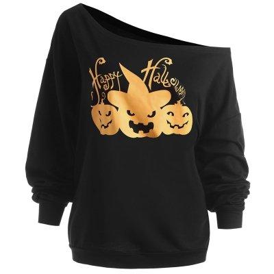 Hannea Plus Size Happy Halloween Pumpkin Sweatshirt