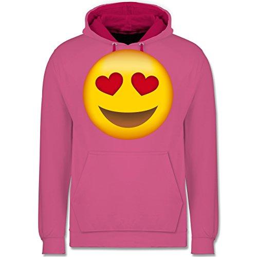 Comic Shirts - Verliebter Emoji - Kontrast Hoodie Rosa/Fuchsia