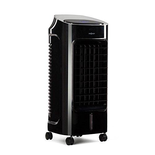 Oneconcept Coolster • Refrigerador de Aire 4 en 1 • Ventilador • Enfriador • Ionizador • Humidificador • 65 W • 320 m³/h • Depósito 4 L • Temporizador • Oscilador • Ruedas • Mando a Distancia • Negro