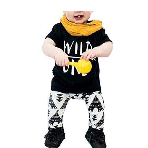 Bekleidung Longra Baby Set Brief drucken T-Shirt + geometrisches Muster Hosen Jungen Kleidung Anzug (0 -24 Monate) (70CM 6Monate)