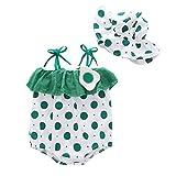 Livoral Baby badewanne Neugeborenes Baby Mädchen Riemen gekräuselten Dot Print Strampler Sunsuit Hat Bodysuit(Grün,66)