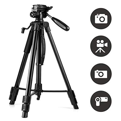 Amzdeal Kamera Stativ 160cm/63 Aluminium Leichtes Stativ mit 3-Wege-Schwenkkopf Wasserwaage,Dreibein Stativ für Smartphone DSLR SLR Nikon Canon Sony,GoPro,Video Kamera,Reisestativ mit Tragetasche