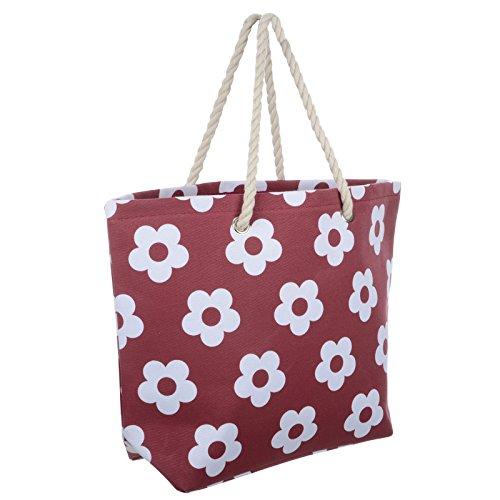 Frauen Umhängetasche für den Strand aus Leinen Sommer Urlaub Stoffbeutel Shopping Wiederverwendbar Handtasche Blume / Rubinrot