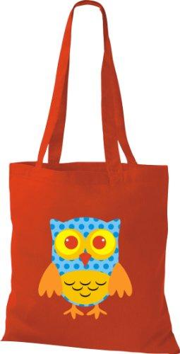 Stoffbeutel Bunte Eule niedliche Tragetasche mit Punkte Owl Retro diverse Farbe rot
