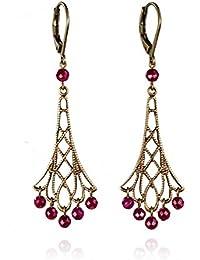 Cécile Cohen - Charleston - Pendientes colgantes estilo años 1920 - Filigranas bronce a los detalles muy finos y perlas facetadas de jade coloradas granadina - cierre de palanca