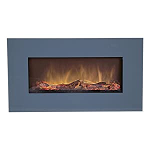 Charles Bentley Large Wall Mounted LED 1500W Electric Fire with Remote Control - Grey