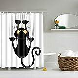 Duschvorhänge,Duschvorhang aus Polyester,  Textil Bad Vorhang, Schwarz Katze bedruckt,Anti-Schimmel, Wasserdichter,Badezimmer Vorhang mit 12 Duschvorhängeringen und Haken, 120x180 cm