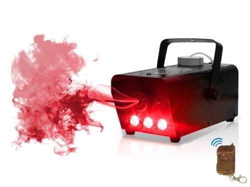 LED Nebelmaschine mit Flammeneffekt Flammenwerfer ( mit 250 ml Tank, Durchfluss des Nebel 7 m³/min, Fernbedienung mit 3 m Kabel und Halterung Wand und Decke, 3 Minuten Aufwärmzeit) (Red)