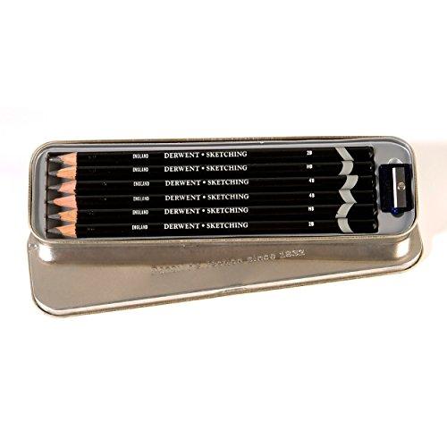 Derwent Sketching Bleistifte in Metallbox 6 Stück -