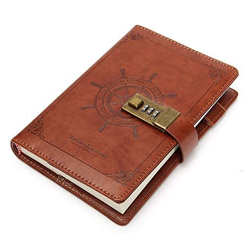 age Ruder Braun Leder Journal Blank Tagebuch Notizbuch Mit Passwort Code Lock Büro Schule SchreibwarenGeschenke, ()