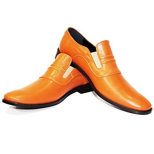 PeppeShoes Modello Mimi - 41 EU - Handgemachtes Italienisch Leder Herren Orange Mokassins Müßiggänger und Slip-Ons - Rindsleder Weiches Leder - Schlüpfen (Leder Handgemachte Schuhe)