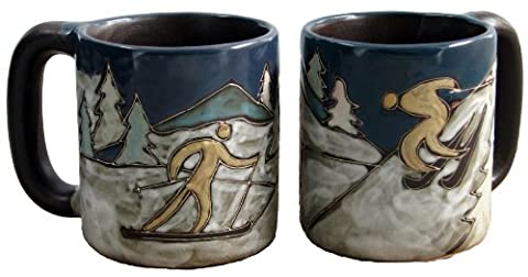 One (1) MARA STONEWARE COLLECTION - 16 Ounce Coffee or Tea Cup Collectible Dinner Mug - Abstract Skiers, Snow, Mountains, Trees