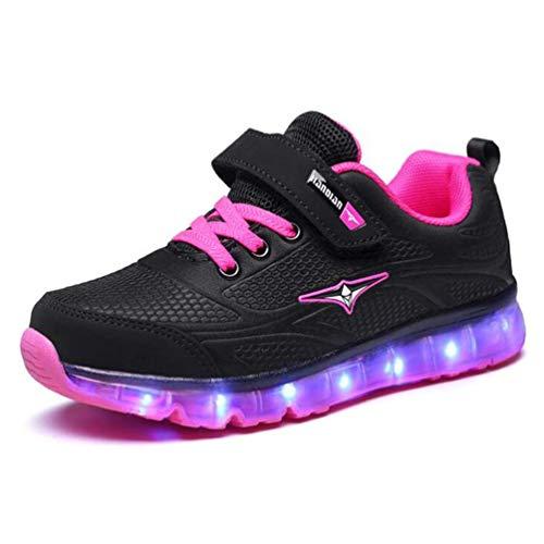 Kinder Sportschuhe mit Klettverschluss Jungen Mädchen LED leuchtende Schuhe USB-Ladeschuhe Casual Kids Sneakers (Jungen Schuhe Dressy)