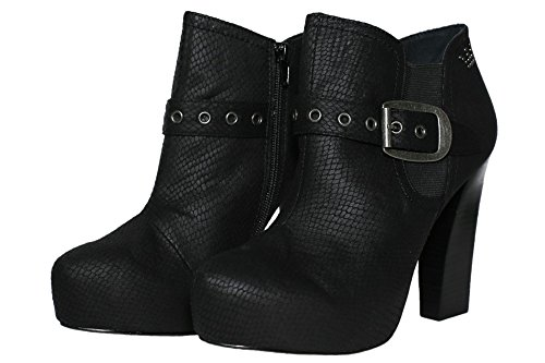 Replay Prais Plateau Stiefeletten High Heels Ankle Boots Damen Schwarz