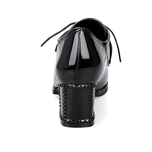 VogueZone009 Femme Pu Cuir Couleur Unie Lacet Pointu à Talon Haut Chaussures Légeres Noir