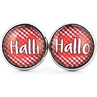SCHMUCKZUCKER Damen Ohrstecker Spruch Halli Hallo Modeschmuck Ohrringe silber-farben rot weiss kariert 14mm