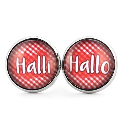 SCHMUCKZUCKER Damen Ohrstecker Spruch Halli Hallo Modeschmuck Ohrringe silber-farben rot weiss kariert...