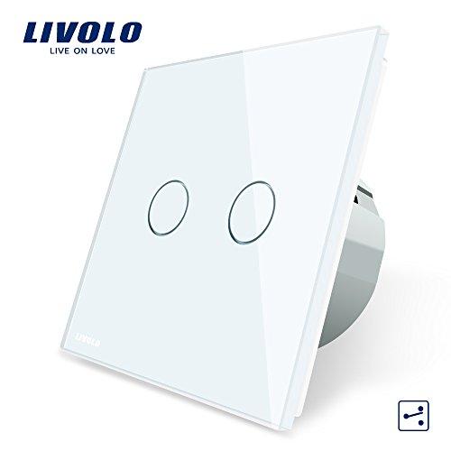 LIVOLO Weiss Wechselschalter/Kreuzschalter mit LED Anzeige Licht Platte aus Kristallglas Touch Ein/Aus Licht Schalter, 2 Fach 2 Weg,VL-C702S-11-A