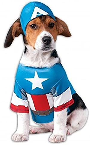 Pet Dog Cat Captain America Super Hero Halloween Fancy Dress Costume Outfit S-XL (Medium)