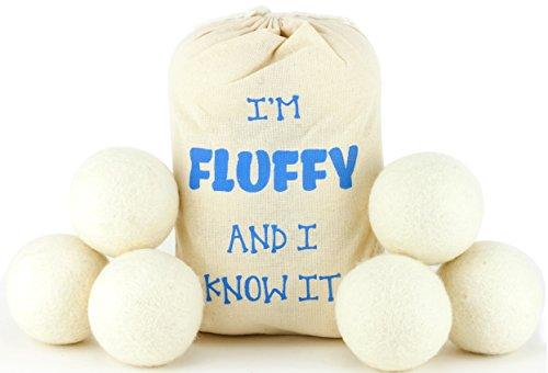 Gefühl Flauschig Neuseeland Wolle Trockner Bälle 6Pack–100% natürlichem Bio Weich (Kleidung Feuerhemmende)
