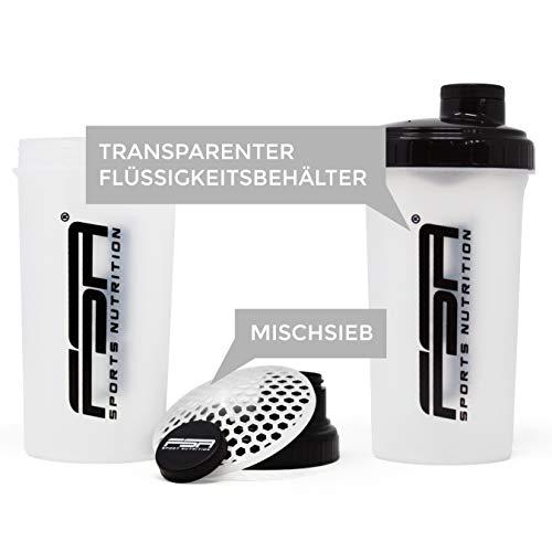 FSA Nutrition -  Shaker de 700 ml -  sin BPA -  Transparente