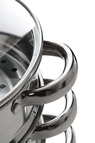 Premier Housewares Stainless Steel Steamer with Glass Lid, 22 cm Img 2 Zoom