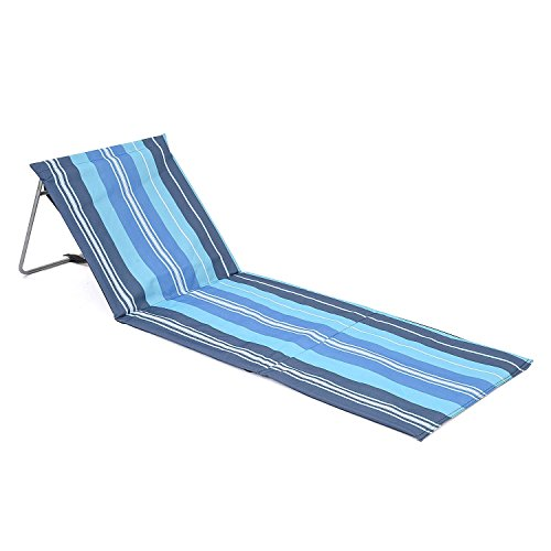Trail Portable Beach Mat Blue Stripe Folding Sun Lounger Adjustable Deck Chair
