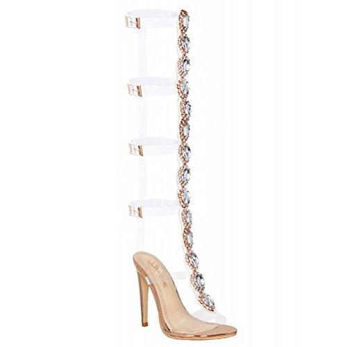 Onlymaker Damenschuhe Fashion High Heels Freie Toe Transparent Strap Riemchen Schnalle Sandale (40 EU-256mm, Schwarz-2)