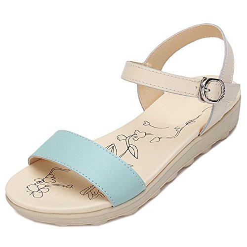 TAOFFEN Femmes Sandales Mode Bout Ouvert Sangle De Cheville Slingback Chaussures Bleu